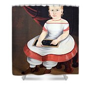 Prior Hamblin School's Little Girl With Slate Shower Curtain