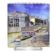 Psychedelic Bruges Canal Scene Shower Curtain
