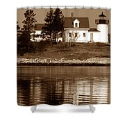 Pumpkin Island Lighthouse Shower Curtain