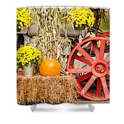 Pumpkins Next To An Old Farm Tractor Shower Curtain