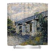 Railway Bridge At Argenteuil Shower Curtain