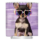 Rainbow Sunglasses Shower Curtain by Greg Cuddiford