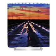 Rainy Highway Shower Curtain by Benjamin Yeager