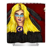 Raven Yellow Hair Shower Curtain