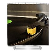 Record Player Shower Curtain by Les Cunliffe