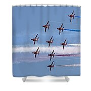 Red Arrows Flying In Formation Shower Curtain