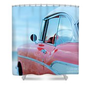 Red Chevy '57 Bel Air At The Beach Square Shower Curtain by Edward Fielding