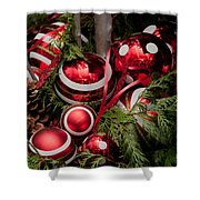 Red Christmas Balls Shower Curtain