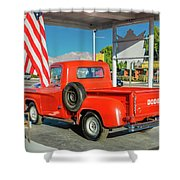 Red Dodge Pickup Truck Parked In Front Shower Curtain