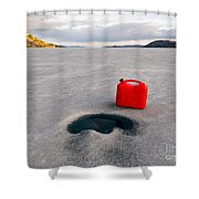 Red Jerrycan Lost On Frozen Lake Laberge Yukon T Shower Curtain