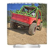 Red Off Road Car  Shower Curtain