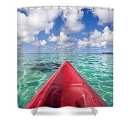 Red Outrigger Canoe Shower Curtain