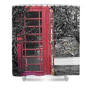 Red Phone Box Shower Curtain