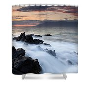 Red Sky Over Lanai Shower Curtain