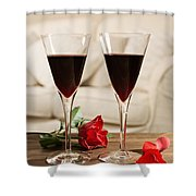 Red Wine And Roses Shower Curtain