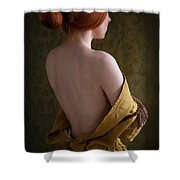 Redhead Woman Removing A Ballgown Shower Curtain