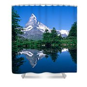 Reflection Of A Snow Covered Mountain Shower Curtain