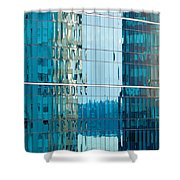 Reflections In Modern Glass-walled Building Facade Shower Curtain