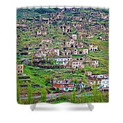 Residents Moved From Homes In Cliffs To Homes Below In 1951 In Cappadocia-turkey Shower Curtain