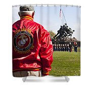 Retired Marine Paying Respect Shower Curtain