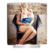 Retro Blond Beach Pinup Model With Elegant Look Shower Curtain