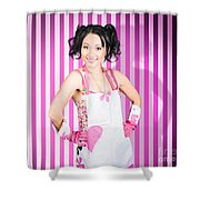 Retro Cleaning Service Maid With Smile Shower Curtain