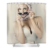 Retro Pin-up Girl In Classic Fashion Style Shower Curtain