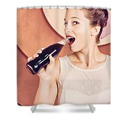 Retro Pin Up Pop Art. Soda Girl From 1950 Shower Curtain
