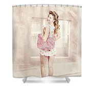 Retro Pin Up Woman Carrying Vintage Shopping Bag Shower Curtain