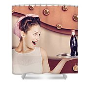 Retro Pinup Girl Holding Food And Drinks Tray Shower Curtain