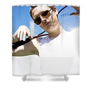 Retro Tennis 1970 Shower Curtain