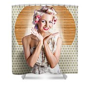 Retro Woman At Beauty Salon Getting New Hair Style Shower Curtain