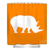 Rhino In Orange And White Shower Curtain
