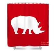 Rhino In Red And White Shower Curtain