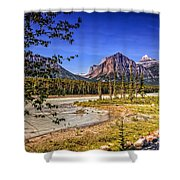 River And Mountains In Jasper Shower Curtain