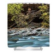 River Flowing Through Rocks, Zion Shower Curtain