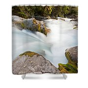 River Rapids Washing Over Rocks With Silky Look Shower Curtain