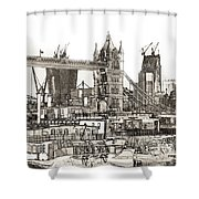 River Thames Sketch Shower Curtain