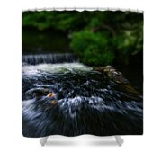 River Wye Waterfall - In Bakewell Peak District - England Shower Curtain