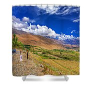 Road And Mountains Of Leh Ladakh Jammu And Kashmir India Shower Curtain