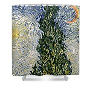 Road With Cypresses Shower Curtain by Vincent Van Gogh