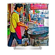 Roasting Chestnuts In China Town In Bangkok-thailand  Shower Curtain