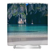 Rock Formations In The Sea, Phi Phi Shower Curtain