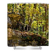 Rock Shelf And Forest Shower Curtain