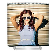 Rockabilly Greaser Pin-up. 50s Drive-in Culture Shower Curtain