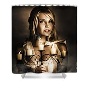 Romantic Blonde Woman Holding The Light Of Love Shower Curtain