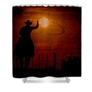 Ropin' The Moon Shower Curtain