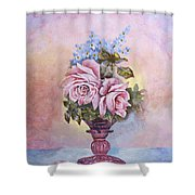 Roses In Ruby Vase Shower Curtain