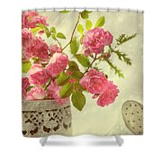 Roses In Watering Can Shower Curtain