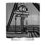 Route 66 - Chain Of Rocks Bridge And Gas Pump Shower Curtain